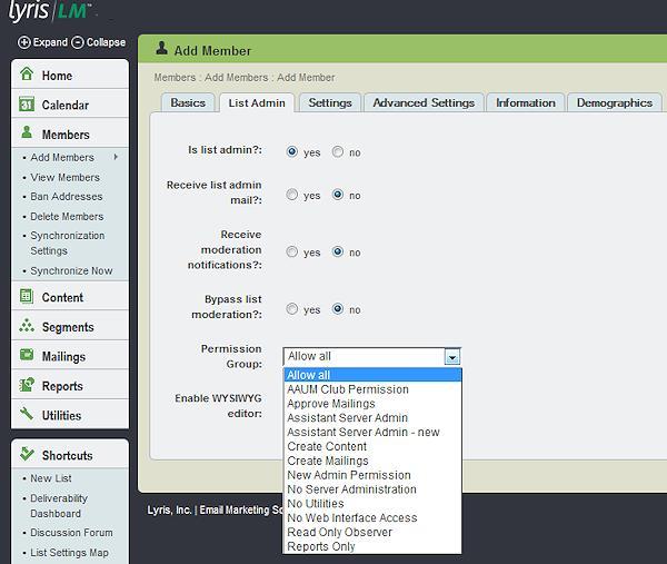 add member list admin tab