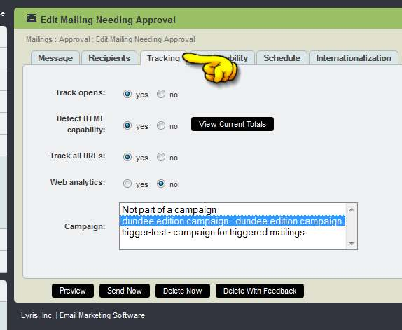 need approval tracking tab