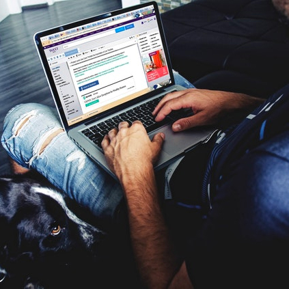 Laptop with dog