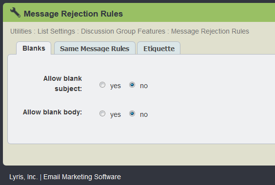 rejection rules