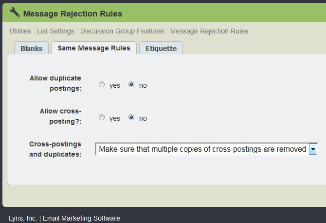 same message rule